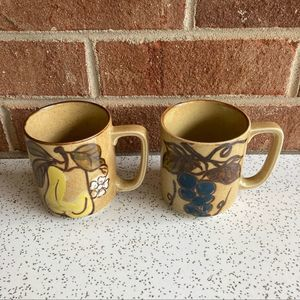 VTG Stoneware Fruit Mug Pair